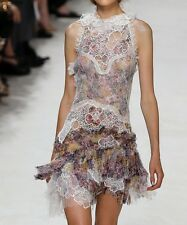 Nina Ricci Embroidered Printed Chiffon Dress Lace $4,590 OFFER
