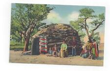 Antique 1940 Native Americana Post Card Navajo Indians on Reservation