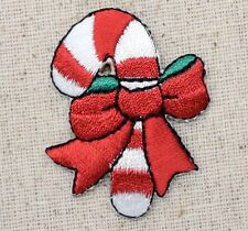 Iron On Embroidered Applique Patch Christmas Candy Cane with Red Bow