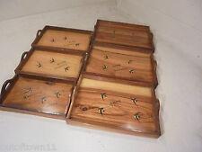 Malta souvenir Vintage set of 6 Treen Trays , Sorrento Ware Type ,   ..ref 707