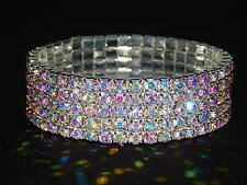 WEDDING BRIDAL 5 ROW RHINESTONE STRETCH BRACELET BANGLE CUFF GOLD / AB OR SILVER
