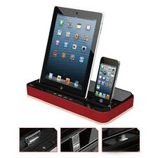 Dual Docking Station Charger Speaker For iPad iPhone Samsung Galaxy Mobil Phone