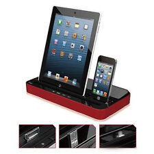 Luxury Dual Docking Station Desk Charger Speaker For iPad iPhone Samsung Galaxy