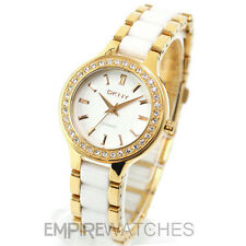 **NEW** DKNY LADIES WHITE CERAMIC GOLD WATCH - NY8140 - RRP £185.00