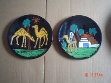 Pair Of Egytian Souvenir Wall Plates Camels Hand Painted Glazed