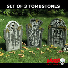 3 Large Tombstone/Gravestone-Graveyard Cemetery Halloween Decorations SCARY 55cm