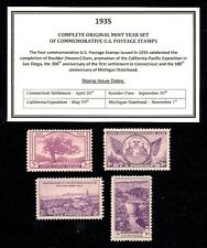 1935 COMPLETE YEAR SET OF VINTAGE MINT, NEVER HINGED, U.S. POSTAGE STAMPS