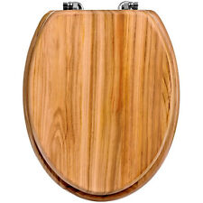 Brand New Classic Solid Natural Oak Wooden Bathroom Toilet Seat With Fittings