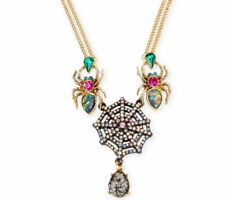 Betsey Johnson Skeletons After Dark Spider Web Frontal Necklace NWT $52