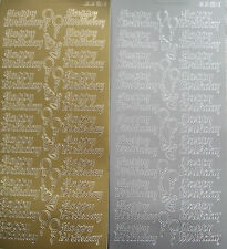 2 sheets of Happy Birthday Peel-offs  Gold and Silver
