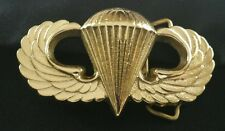US ARMY AIRBORNE JUMP WINGS PARATROOPER MILITARY SOLID BRASS BELT BUCKLE 1978