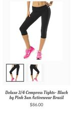 New With Tags Women's Pink Sun Activewear Brazil 3/4 Compress Leggings, L/XL