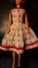 Vintage Barbie Fashion Doll Red White Dress Handmade 1960s