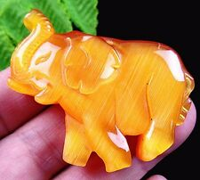 Beautiful unique yellow cat eye gemstone carved elephant pendant bead B22605