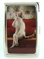 Funny Cat 06 Cigarette Case Built in Lighter Wallet Card Holder Animal Vintage