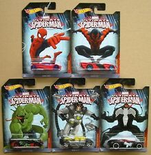 Marvel Ultimate Spiderman Lot of 5 Hotwheels Die-cast Cars - New & Carded