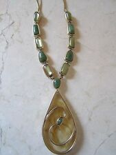 NEW WITH TAGS  MONET GOLD TONE GREEN BEADED ACRYLIC PENDANT NECKLACE