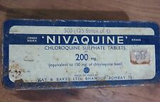 VINTAGE ADVERTISE MEDICAL TIN SIGN BOX NIVAQUINE MAY & BAKER LTD BOMBAY 1970