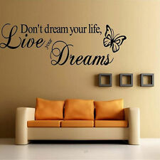 Live You Drean Wall Stickers Art Vinyl Quote Decal Mural Home Decor Removable