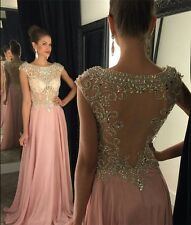 2016 Chiffon A - line crystal Prom Dresses Sexy Sheer Party Woman Special dress