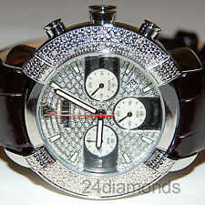 Aqua Master White Round Pave Diamond Steel Black Leather Mens Watch