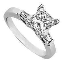 0.54 carat Princess cut Solitaire & Baguette Diamonds Platinum Engagement Ring