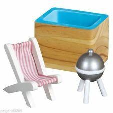 NEW Just Dreamz Wooden Outdoor Patio Set Hot Tub Grill Chair Dollhouse Furniture