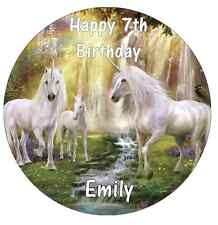 Unicorn Horse Personalised Cake Topper Edible Wafer Paper 7.5""