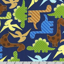 FAT QUARTER-Dinosaur Dino Dinosaurs Blue ROBERT KAUFMAN FABRIC 11506-9 Navy