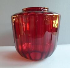 Antique Cranberry Glass  Hanging / Hall  Lamp Shade- Ribbed Pattern