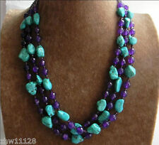Nugget Turquoise & Purple Amethyst & Crystal Beads Necklace 46''
