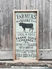 "Large Rustic Wood Sign - ""Farmer's Market...."" Primitive, Country, Farm, Framed"