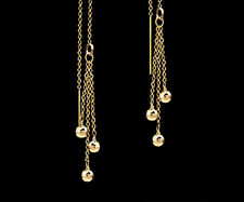 *CKstella*  14K Gold gf  Ball Triple Dangle Ear Thread Threader Earrings