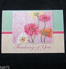Leanin Tree Thinking Of You Greeting Card Flowers Glitter Multi Color R124