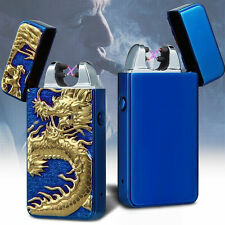 Plasma Electric Dual Arc Flameless Anaglyph dragon USB Windproof Lighter Gifts