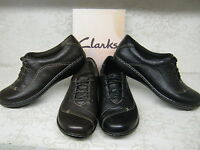 Ladies Clarks Embrace Brook Black or Brown Leather Casual Lace Up Shoes D Fit