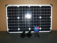 12V 40W MONO CRYSTALLINE SOLAR PANEL W 7A CHARGE CONTROLLER & MOUNTING BRACKETS
