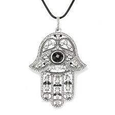 LARGE SILVER & RHINESTONES HAND OF HAMSA PENDANT -8cm x 5cm + LONG LEATHER CHAIN