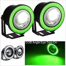 "2Pcs 2.5"" Angel Eye COB Green Halo Ring Car Driving LED DRL Projector Fog Lights"