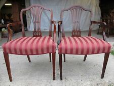 Pair of Georgian Mahogany Armchairs with Shaped Crest Rail & Pierced Splat (424)