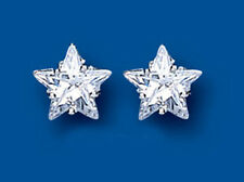 Sterling Silver Heavyweight Claw Set Clear Cubic Zirconia 10mm Star Studs BP6369
