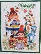 Vtg Caspari Christmas Cards Girl Baking Treats Box of 12 Richardt Jensen Denmark