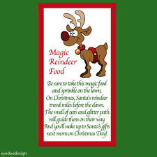 48 x Christmas Reindeer Poem Magical Food Sticker Business Xmas Label Fun -711