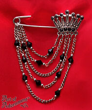 Gothic BLACK RHINESTONE CROWN BROOCH Antique Silver Victorian Style Kilt Pin V14
