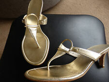 Womens Gold High heels salvatore ferragamo shoes Strappy Sandal Mules UK 6.5