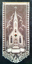 NEW Heritage Holiday Lace Wall Hanging Church with Christmas Wreath 12 x 27 NIP
