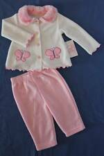 NEW Baby Girls 2p Outfit 3 - 6 Mo Pink White Top Jacket Pants Set Soft Butterfly
