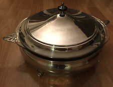 Vintage Silverplate Casserole Server with 3 QT Pyrex Bowl and Cover