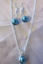 """Pearl Set Teal / STERLING SILVER NECKLACE 18""""&EARINGS/boxed"""