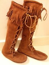 "Vtg Minnetonka Moccasins Knee High Boot Front Lace With Fringe Sz 8 17"" High!"